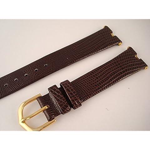 Correa de reloj–italiano de piel calidad–Cut Out extremos para Prestige relojes, marrón, 14mm Lug - Brown - Gold Plated