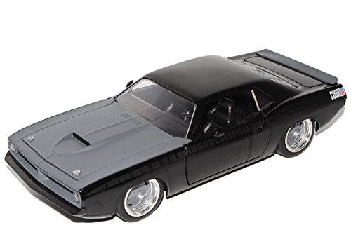 Barracuda-auto-modell (Plymouth Barracuda Schwarz Lettys 1970 The Fast and the Furious 1/24 Jada Modell Auto)