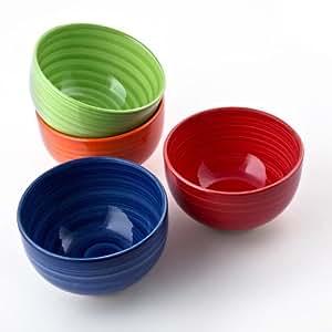 Relaxdays 4er Set Müslischalen Dessertschalen aus Keramik