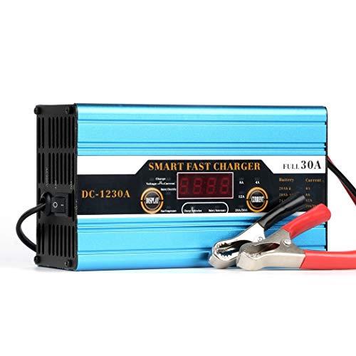 Automatico Caricabatteria Auto, Intelligente degli Impulsi di Riparazione 12V 30A Battery Charger con Caricatore Rapido, Auto Battery Booster Power Pack Portable per Vario Veicolo