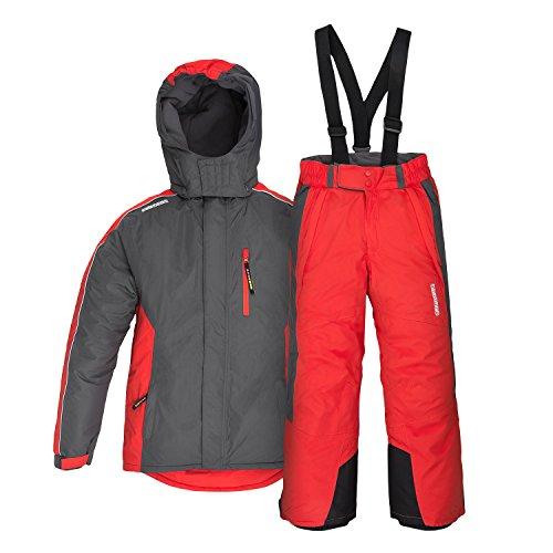 anndora Kinder Skianzug Gr. 152 Skijacke Grau Skihose Rot wasserabweisend