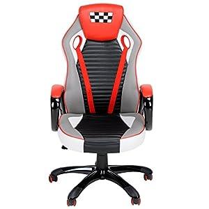 41IBoMIXaoL. SS300  - Fanilife-Racing-silla-estilo-de-juego-de-alta-trasero-de-cuero-PU-silla-giratoria-de-oficina-ajustable-silla-de-trabajo-rojo