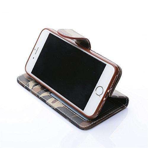 iPhone 7 Plus Case, Housse en cuir pour iPhone 7 Plus, Lifetrut [Modèle de camouflage] Premium cuir PU étui magnétique portefeuille pour iPhone 7 Plus [marron] E202-marron