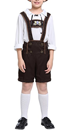 Lederhosen Kostüm Kind - Bslingerie Jungen Oktoberfest Traditionelle Lederhosen Kostüm (Jungen Set, 110 cm)