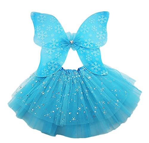 Cloud Kids Mädchen Fee Kostüme Fee Prinzessin Kostüm Set Kostümparty Theme Party Karneval oder Mottoparty EIS und Schnee Schmetterling (Eis Fee Kostüm)