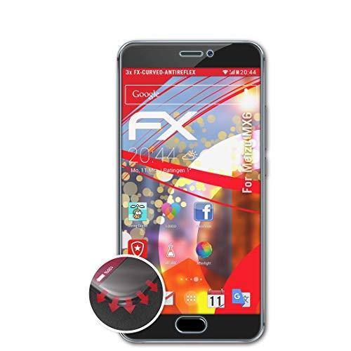 atFolix Schutzfolie passend für Meizu MX6 Folie, entspiegelnde & Flexible FX Bildschirmschutzfolie (3X)