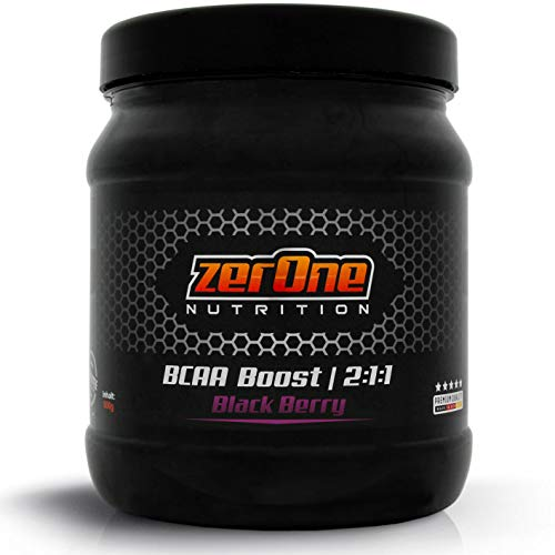 ZerOne Nutrition Bcaa Boost Hochdosiertes Pulver Aminosäuren Leucin Isoleucin Valin 2:1:1 Deutsche Premium Qualität Fitness Sport (Black Berry), 500 g
