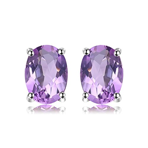 JewelryPalace Oval 1.1ct Natürlicher purpurroter Amethyst Birthstone Solitaire Ring Solid 925 Sterling Silber Sterling Silber Amethyst Ohrringe