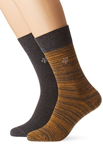 JONTE  Legwear M-Socks 2-pack Herren socken, gelb (curry 608), 43/46 (Herstellergröße: 406), 155624 (Fashion 2 Socken Pack)