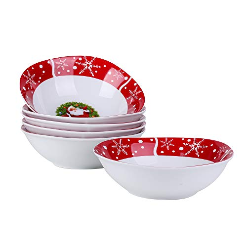VEWEET SANTACLAUS, 60 Pièces Plates, en Porcelaine, 12 Assiettes Plates, 12 Assiettes Creuse, 12 Assiettes à Dessert, 12 Tasses avec 12 soucoupes, pour 12 Personnes