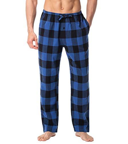 LAPASA PerfectSleep - Pijama de 100% Algodón Franela con Estampado Escocés para Hombre M39 (Negro y Azul, XXL (Cintura 111-116, Largo 114 cm))