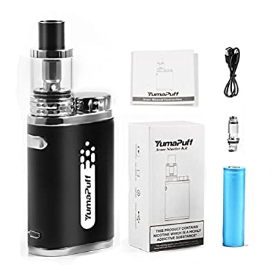 E Cigarette Starter Kit, Acme starter kit, Compact Electronic Cigarette Kit with Huge Vapour, 1800mah Rechargeable battery, Simple Operation 45W LED Box Mod, No E Liquid, Nicotine Free (Black) by YumaPuff