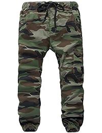 reputable site 18a72 e404d YoungSoul Pantalons garçon - Pantalon de Jogging avec Chevilles imprimé  Camouflage - Pantalon Cargo à Taille