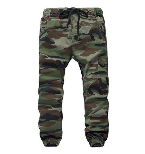 YoungSoul Hosen für Jungen - Jogginghose mit Bündchen und Military-Muster - Cargohose mit Kordel-Taille Armeegrün(Regular Fit) 116-122