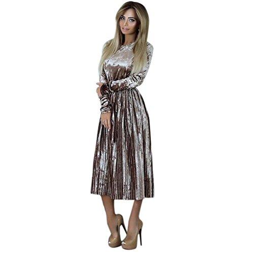Frauenkleidung Damen Kleid mit langen Ärmeln JYJM Womens Off Schulter Samt Kleid Damen Abend Party Loose Dress Ein Wort Schulter Samtkleid (M, Khaki) (Samt Weihnachten Kleid)