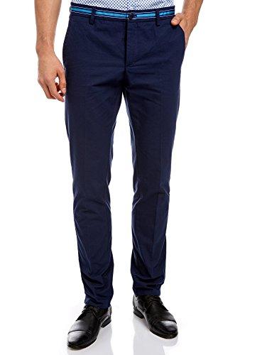 oodji Ultra Hombre Pantalones de Algodón con Decoración en Contraste en la Cintura, Azul, ES 48 (XL)