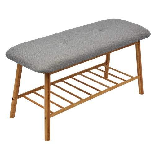 Limal Sitzbank, Bambus, Grau, 90 x 34 x 45 cm