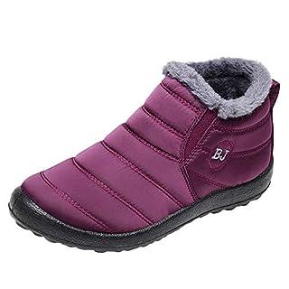 MRULIC Schneestiefel Damen Winterschuhe Einfarbig Warm Ankle Boots Plus Samtstiefel Fläche Schneestiefel Mode Schuhe Boots und mit Niedrigen Absätzen(Weinrot,38 EU)