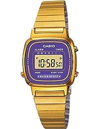 CASIO LA-670WGA-6 - Reloj con correa de acero inoxidable, para mujer, color morado y dorado