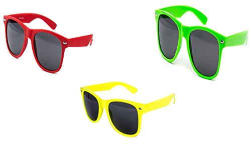 3 er Set Nerd Sonnenbrille Partybrille Festival Sunglass Stil Atzen Brille Rot Neon Gelb Grün D542