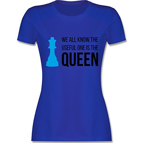 Typisch Frauen - Schach-Damen Queen - tailliertes Premium T-Shirt mit Rundhalsausschnitt für Damen Royalblau