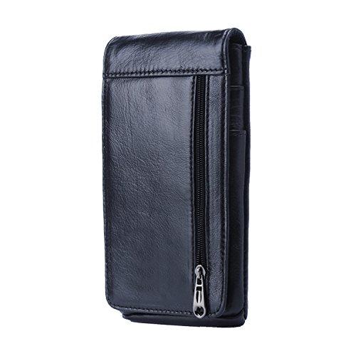 Schwarze Leder-gürtel-tasche (iPhone 6 Plus Guerteltasche, Hengying Leder Kleine Handytasche Gürteltasche Bauchtasche Telefonkasten mit Kartenfächer für Huawei Mate 8 9 Galaxy Note 5 4 3 2 iPhone 6S Plus 7 Plus)