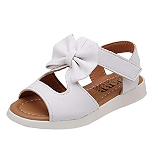 IGEMY Summer Kids Children Sandals Fashion Bowknot Girls Flat Pricness Shoes (UK:8/Age:4T, White)