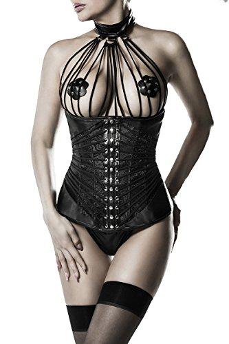 2c75155c38 Sexy 2 tlg Unterbrust Corsage Grey Velvet Schwarz Bänder Schnürung Spitze  Nieten