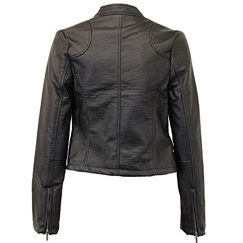 Damen Bikerjacke Brave Soul Damen-mantel PU PVC Lederoptik Gefüttert Winter Neu Schwarz - ELEFANT