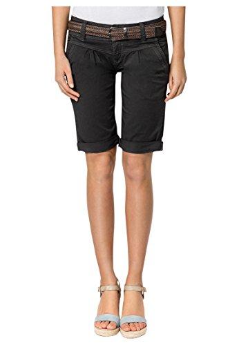 Fresh Made Damen Bermuda-Shorts im Chino Style | Elegante kurze Hose mit Flechtgürtel dark-grey XL