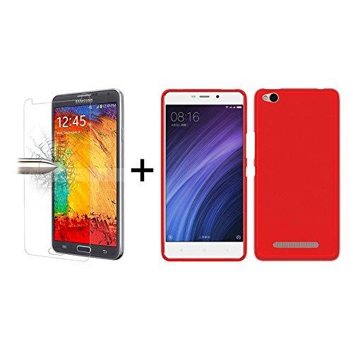 TBOC® Pack: Rot Gel TPU Hülle + Hartglas Schutzfolie für Xiaomi Redmi 4A (5.0 Zoll) - Ultradünn Flexibel Silikonhülle. Panzerglas Bildschirmschutz in Kristallklar in Premium Qualität.