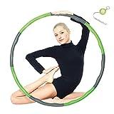 Espistmo Fitness Hula Hoop zur Gewichtsreduktion,Reifen mit Schaumstoff ca 1 kg Gewichten Einstellbar Breit 48-88 cm beschwerter Hula-Hoop-Reifen für Fitness (4 Knoten Grün + Grau) mit Mini Bandmaß