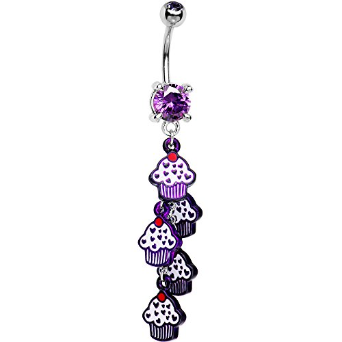 BodyJewelryonline Belly Button Ring, Violett Cupcake baumeln 14GA 316L chirurgischer Stahl (Ringe Button Violett Belly)