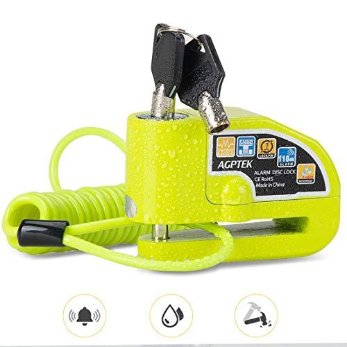 AGPTEK Candado Disco Moto con 1.5M Cable de Recordatorio, Candado Bloqueo 7mm...