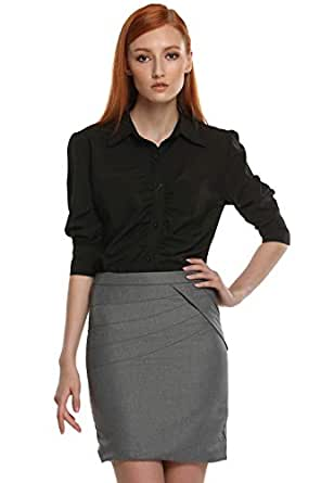 Zeagoo women long sleeve button down ruched business shirt for Womens button down shirts fitted