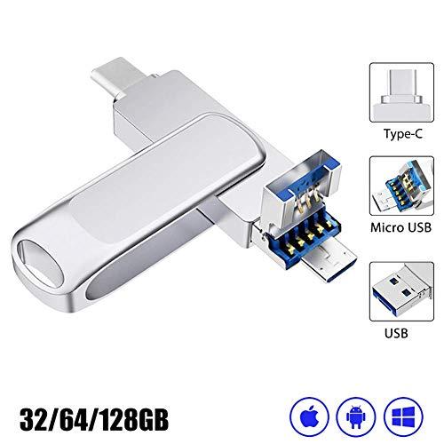 USB Stick 64GB, USB 3.0 Stick- Speicherstick 64GB, Externe Datenspeicher USB C Stick- 3 in 1 OTG Stick mit Micro USB Silber