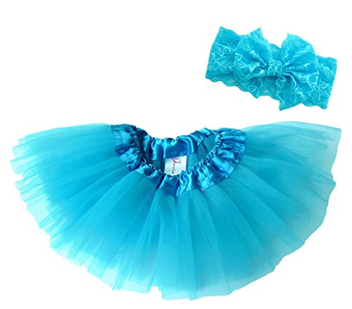 Handgemachte Kostüme Babys Für Halloween (Dancina Baby Tüllrock Tutu Classic Set m. passendem Haarband Türkis Classic 6-23)