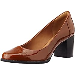 Clarks Women's Tarah Sofia Cognac Leather Pumps - 7 UK