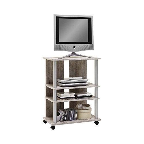 FMD Moebel 205-007 Variant 7 Meuble TV/HiFi sur Roulettes avec 3 Compartiments/Barre Polyamide Teintée Aluminium/ Bois Chêne Sable 65 x 40 x 85 cm