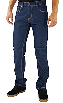 Kayden K Men's Twill Skinny Jeans Blue Orange-36x30