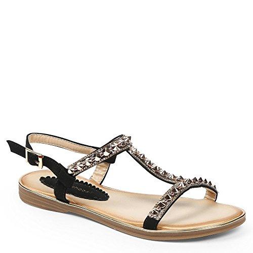 Ideal-Shoes Sandali piatti con fascia T-Magalie tempestato di chiodi Nero (nero)