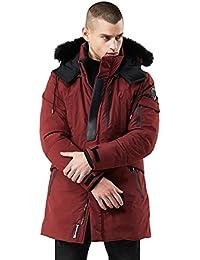76961a8ab450 Herren Winter Lange Jacke Warm mit Fell Kragen Kapuze Pelz Fleece Gefüttert  Funktions Kapuzenjacke Mantel Parka…