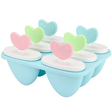 pupow Eis-am-Still-Form-Set, Lebensmittelqualität, für gesundes selbstgemachtes Eis, Set für Kinder, 6 Formen