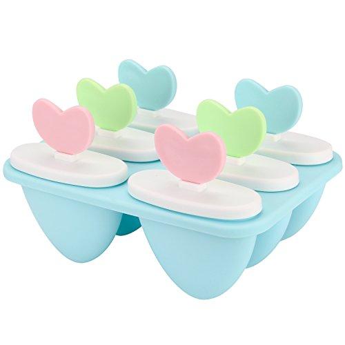Ice Lolly Maker, pupow Set von 6Lebensmittelqualität Ice Pop Formen, gesunde DIY Eis Schimmel Set für Kinder Kinder