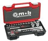 MOB Outillage 9436033001 Coffret Box Douilles 1/4-1/2 Mousse-33 Pièces (4 À 32mm), Rouge