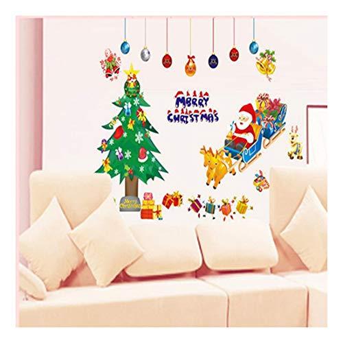 QTZJYLW Christmas Wall Stickers Cartoon Santa Christmas Tree Pattern Merry Christmas Home Decoration Shop Window Glass Wall Stickers (50×70Cm)
