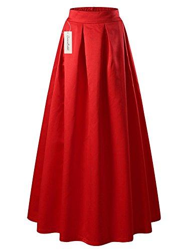 CoutureBridal® Femme Jupe Casual Longue Femme Maxi pour Soirée Haute Taille Satin Bleu