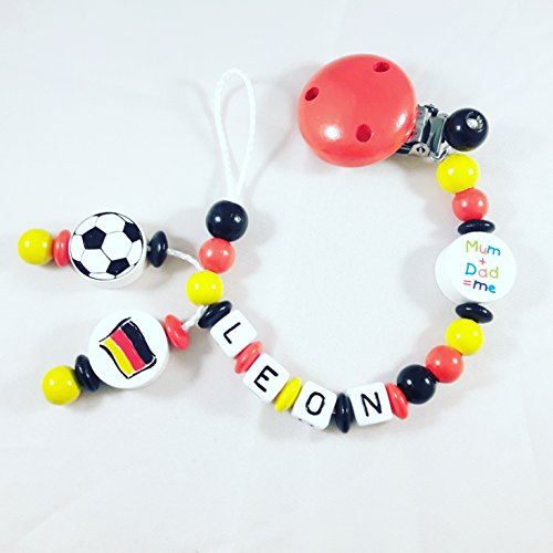 Preisvergleich Produktbild Schnullerkette mit NAMEN - Fußball - WM - Deutschland - schwarz, rot, gelb