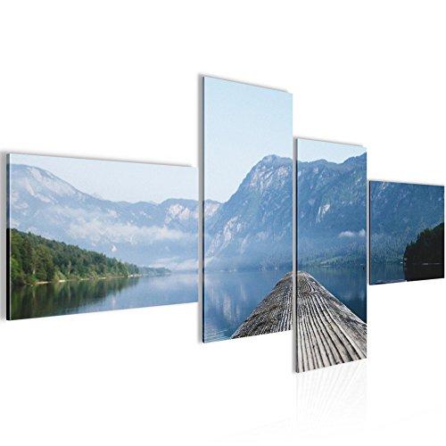 Bild 100 x 50 cm - Steg Bilder- Vlies Leinwand - Deko für Wohnzimmer -Wandbild - XXL 4 Teilig Teile - leichtes Aufhängen- 806042a
