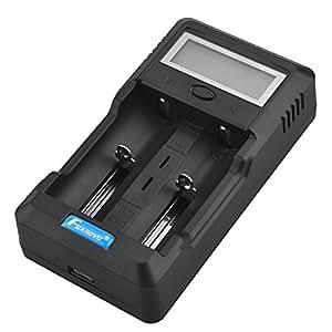 Foxnovo 2 fentes Li -ion Ni-MH Ni-CD Portable LCD Intelligent chargeur batterie avec USB sortie /Sound Prompt/développement de capacité tests /EU-plug adaptateur de voiture Adaptateur /12V (noir)